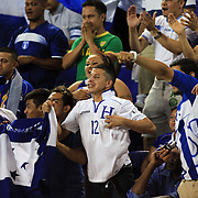 Honduras fans celebrate a goal during the Haiti V Honduras CONCACAF Gold Cup group B football match at Red Bull Arena, Harrison, New Jersey. USA. 8th July 2013. Photo Tim Clayton