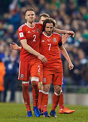 DUBLIN, REPUBLIC OF IRELAND - Friday, March 24, 2017: Wales' Chris Gunter and Joe Allen look dejected after the goal-less draw with Republic of Ireland during the 2018 FIFA World Cup Qualifying Group D match at the Aviva Stadium. (Pic by David Rawcliffe/Propaganda)