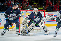 KELOWNA, CANADA - APRIL 5: Taran Kozun #35 of the Seattle Thunderbirds defends the net at the Kelowna Rockets on April 5, 2014 during Game 2 of the second round of WHL Playoffs at Prospera Place in Kelowna, British Columbia, Canada.   (Photo by Marissa Baecker/Getty Images)  *** Local Caption *** Taran Kozun;