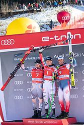 01.02.2020, Kandahar, Garmisch, GER, FIS Weltcup Ski Alpin, Abfahrt, Herren, Siegerehrung, im Bild v.l. Aleksander Aamodt Kilde (NOR, 2. Platz), Thomas Dressen (GER, 1. Platz), Johan Clarey (FRA, 3. Platz) // f.l. second placed Aleksander Aamodt Kilde of Norway race winner Thomas Dressen of Germany third placed Johan Clarey of France during the winner ceremony for the men's downhill of FIS Ski Alpine World Cup at the Kandahar in Garmisch, Germany on 2020/02/01. EXPA Pictures © 2020, PhotoCredit: EXPA/ Johann Groder