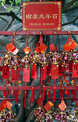 Prayer charms for sale at the A-Ma Temple, dedicated to the Chinese sea-goddess Mazu and located on Barra Hill in São Lourenço, Macau, China. Built in 1488, the temple is one of the oldest in Macau and thought to be the settlement's namesake.