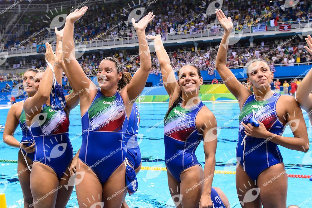 Team ITALY Silver Medal ITALIA <br /> AIELLO, RADICCHI, BIANCONI, DI MARIO, GARIBOTTI <br /> Rio de Janeiro 19-08-2016 Olympic Aquatics Stadium  - Water Polo <br /> USA - ITALY Final <br /> Foto Andrea Staccioli/Deepbluemedia/Insidefoto