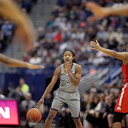HARTFORD, CONNECTICUT- DECEMBER 19: Crystal Dangerfield #5 of the Connecticut Huskies in action during the UConn Huskies Vs Ohio State Buckeyes, NCAA Women's Basketball game on December 19th, 2016 at the XL Center, Hartford, Connecticut (Photo by Tim Clayton/Corbis via Getty Images)