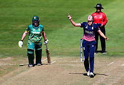 Natalie Sciver of England Women looks frustrated as she bowls - Mandatory by-line: Robbie Stephenson/JMP - 05/07/2017 - CRICKET - County Ground - Bristol, United Kingdom - England Women v South Africa Women - ICC Women's World Cup Group Stage