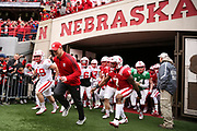 Head coach Scott Frost leads his team onto the field for the Nebraska Huskers Spring Game on April 21, 2018. Photo by Ryan Loco.