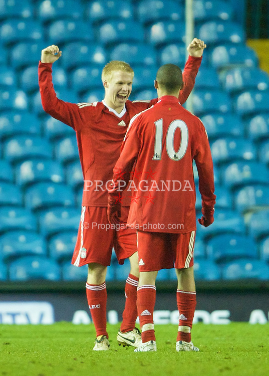 LEEDS, ENGLAND - Tuesday, December 2, 2008: Liverpool's goalscorers Lauri Dalla Valle and Thomas Ince celebrate after beating Leeds United 2-1 during the FA Youth Cup 3rd Round at Elland Road. (Photo by David Rawcliffe/Propaganda)