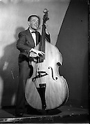 16/05/1956<br /> 05/16/1956<br /> 16 May 1956<br /> The new Sham Wilkinson Band at 23 Parliament Street, Dublin. The double bass.