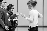 Phoenix cautiously approaches and touches two girls in her gym class. When Phoenix feels comfortable enough with someone she will interact with them, as long as it is on her terms. Students at McGuffey have been very accepting and patient with her.