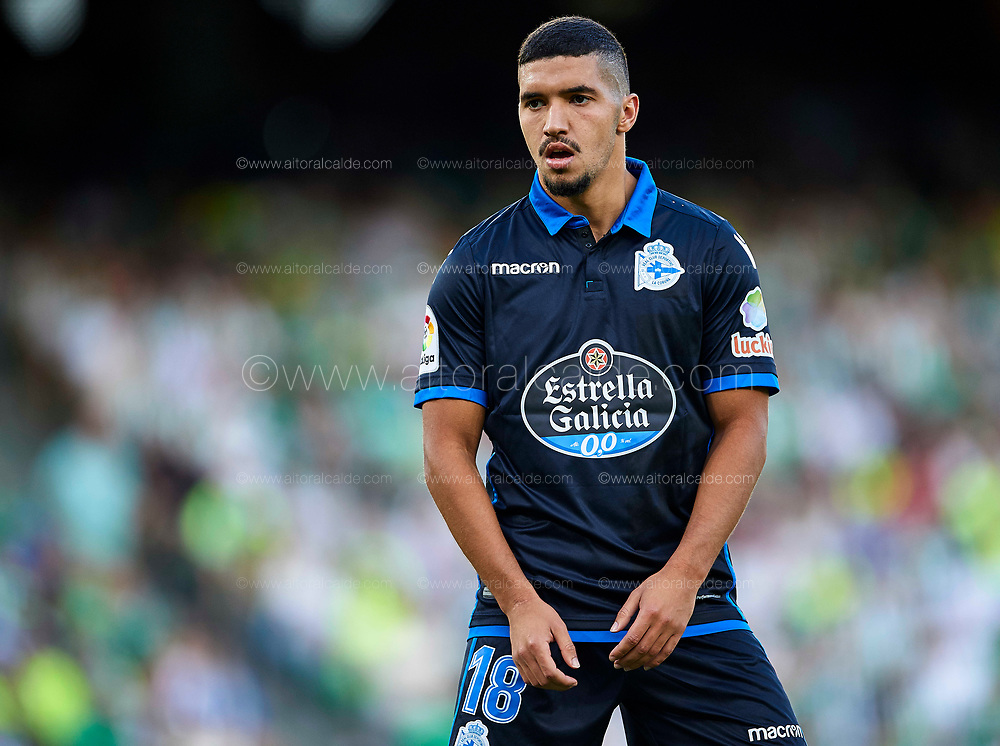 SEVILLE, SPAIN - SEPTEMBER 16:  Zakaria Bakkali of RC Deportivo  looks on during the La Liga match between Real Betis and Deportivo La Coruna  at Estadio Benito Villamarin on September 16, 2017 in Seville, .  (Photo by Aitor Alcalde Colomer/Getty Images)