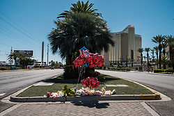 October 3, 2017 - Las Vegas, Nevada, U.S - A makeshift memorial can be seen on Las Vegas Boulevard near the Mandalay Hotel and the site of Sunday's mass shooting which claimed the lives of 59 people and injured hundreds of others. (Credit Image: © Nick Otto via ZUMA Wire)