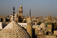 Egypt. Cairo elevated view.  - mosques of the north, Qalawun barquk complex<br /> view from the minaret of the mosquee madrassa al Zahir BAYBARS , sharia Al Mu'izz LI DIN Allah street    islamic Cairo     NM37