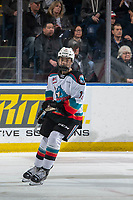 KELOWNA, BC - JANUARY 11: Rilen Kovacevic #12 of the Kelowna Rockets skates for his first WHL game against the Kamloops Blazers at Prospera Place on January 11, 2020 in Kelowna, Canada. (Photo by Marissa Baecker/Shoot the Breeze)