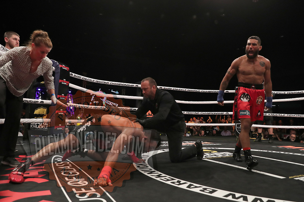 TAMPA, FL - JUNE 22: Jim Alers knocks out Elvin Brito during the Bare Knuckle Fighting Championships at Florida State Fairgrounds Entertainment Hall on June 22, 2019 in Tampa, Florida. (Photo by Alex Menendez/Getty Images) *** Local Caption *** Jim Alers; Elvin Brito