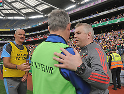 Mayo manager Stephen Rochford  is congratulated by Kevin McStay and Liam McHale after the All Ireland quarter final replay.<br /> Pic Conor McKeown