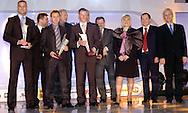 n/z.: Artur Boruc - odkrycie roku , Adam Godlewski - Pillka Nozna , Tomasz Frankowski - najlepszy ligowiec , Janusz Atlas - Pilka Nozna , Jacek Krzynowek - najlepszy pilkarz , Zdzislaw Krecina - PZPN , Gabriela Profus , Marek Profus - Pilka Nozna , Michal Listkiewicz - PZPN , Gala Tygodnika Pilka Nozna , hotel Marriott ,  sezon 2004/2005 , pilka nozna , Polska , Warszawa , 18-12-2004 , fot.: Adam Nurkiewicz / mediasport.pl..Artur Boruc , Adam Godlewski , Tomasz Frankowski , Janusz Atlas , Jacek Krzynowek , Zdzislaw Krecina , Gabriela Profus , Marek Profus , Michal Listkiewicz during 2004 Best Player's ceremony of Weekly Pilka Nozna at Marriott Hotel in Warsaw. December 18, 2004 ; season 2004/2005 , football , soccer , Poland , Warsaw ( Photo by Adam Nurkiewicz / mediasport.pl )