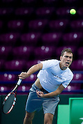 Jerzy Janowicz of Poland while training session two days before the BNP Paribas Davis Cup 2014 between Poland and Croatia at Torwar Hall in Warsaw on April 2, 2014.<br /> <br /> Poland, Warsaw, April 2, 2014<br /> <br /> Picture also available in RAW (NEF) or TIFF format on special request.<br /> <br /> For editorial use only. Any commercial or promotional use requires permission.<br /> <br /> Mandatory credit:<br /> Photo by &copy; Adam Nurkiewicz / Mediasport
