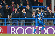 Goal celebration by Ian Henderson of Rochdale during the EFL Sky Bet League 1 match between Rochdale and Accrington Stanley at the Crown Oil Arena, Rochdale, England on 12 October 2019.