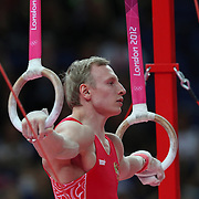 Aleksandr Balandin, Russia, in action in the Gymnastics Artistic, Men's Apparatus, Rings Final at the London 2012 Olympic games. London, UK. 6th August 2012. Photo Tim Clayton