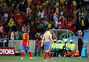 A dejected Sergio Ramos and Fernando Torres leave the pitch after the 2010 FIFA World Cup South Africa Group H match between Spain and Switzerland at Durban Stadium on June 16, 2010 in Durban, South Africa.