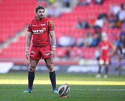 Scarlets Leigh Halfpenny<br /> <br /> Photographer Mike Jones/Replay Images<br /> <br /> Guinness PRO14 Round 22 - Scarlets v Cheetahs - Saturday 5th May 2018 - Parc Y Scarlets - Llanelli<br /> <br /> World Copyright © Replay Images . All rights reserved. info@replayimages.co.uk - http://replayimages.co.uk