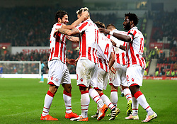 Ramadan Sobhi of Stoke City celebrates with teammates after scoring a goal although it is awarded as an own goal - Mandatory by-line: Robbie Stephenson/JMP - 31/10/2016 - FOOTBALL - Bet365 Stadium - Stoke-on-Trent, England - Stoke City v Swansea City - Premier League