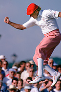 890720/ROYAL TROON , SCOTLAND/PHOTO MARK NEWCOMBE/THE OPEN CHAMPIONSHIP<br /> <br /> PAYNE STEWART JUMPS IN THE AIR AFTER MAKING A PUTT IN THE LAST ROUND<br /> OPEN 1989<br /> ROYAL TROON , SCOTLAND <br /> JULY 1989