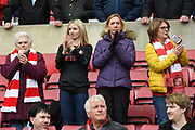 Sunderland fans in the stands before the EFL Sky Bet League 1 match between Sunderland and Portsmouth at the Stadium Of Light, Sunderland, England on 27 April 2019.