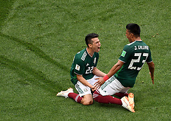 MOSCOW, June 17, 2018  Hirving Lozano (L) celebrates his scoring during a group F match between Germany and Mexico at the 2018 FIFA World Cup in Moscow, Russia, June 17, 2018. (Credit Image: © Wang Yuguo/Xinhua via ZUMA Wire)