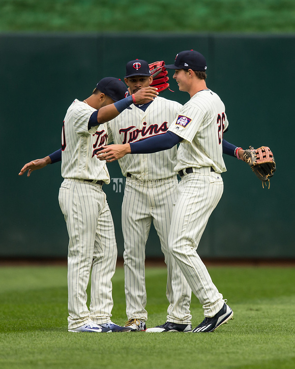 MINNEAPOLIS, MN- APRIL 5: Eddie Rosario #20, Byron Buxton #25 and Max Kepler #26 of the Minnesota Twins celebrate against the Kansas City Royals on April 5, 2017 at Target Field in Minneapolis, Minnesota. The Twins defeated the Royals 9-1. (Photo by Brace Hemmelgarn) *** Local Caption *** Eddie Rosario;Byron Buxton;Max Kepler