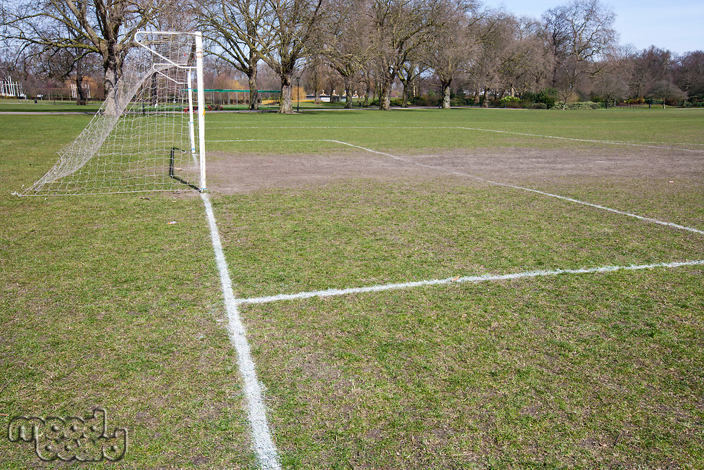 Soccer goal in morning