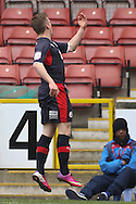 Picture by David Horn/Focus Images Ltd +44 7545 970036.23/02/2013.Billy Clarke (right).of Crawley Town celebrates scoring his side's first goal during the npower League 1 match at the Matchroom Stadium, London.