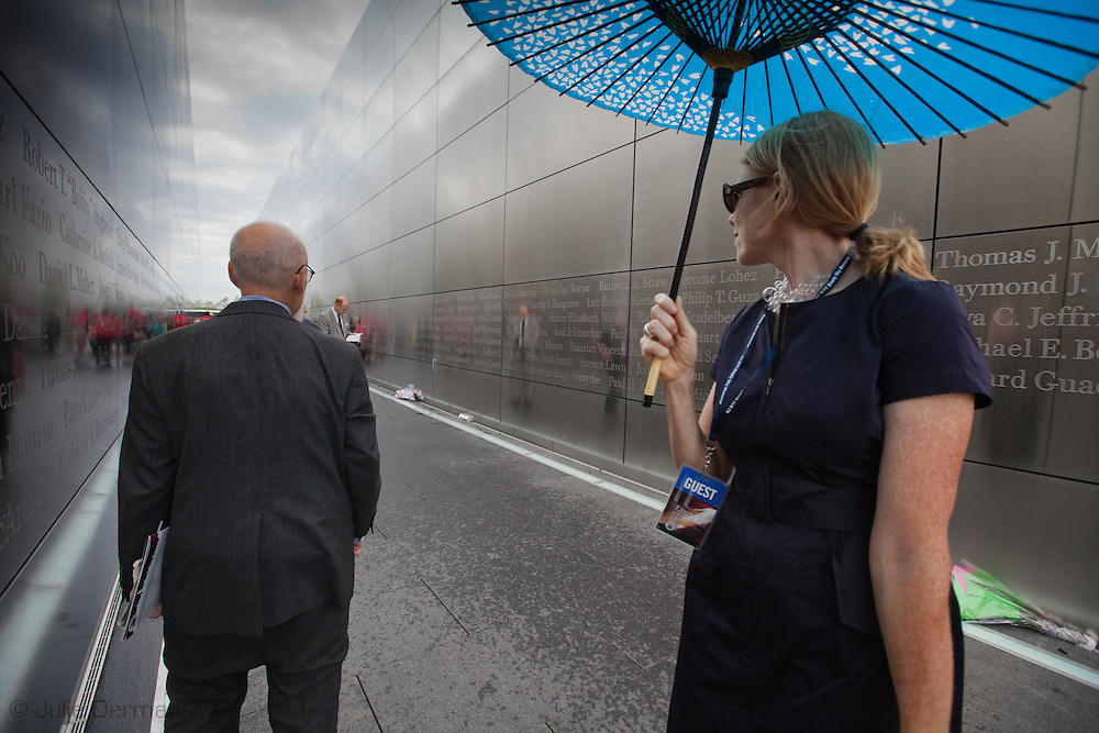 Architect  Frederic Schwartz  and Tracy Hummer at the dedication ceremony of the  Empty Sky 9/11 Memorial l at Liberty State Park in New Jersey  the day before the tenth anniversary of 9/11.Architect  Frederic Schwartz designed Empty Sky and the Westchester 9/11 memorial. <br /> The memorial is two 30-Ft rectangular towers  208 feet by 10 inches long,  the width of the World Trade Center towers and with the names of the 746 New Jerseyans who perished after the terrorist attacks on 9/11, 2001  etched in stainless steel.