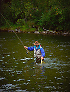 Alaska. Near Fairbanks. Chena River. Fly Fishing for grayling. MR.