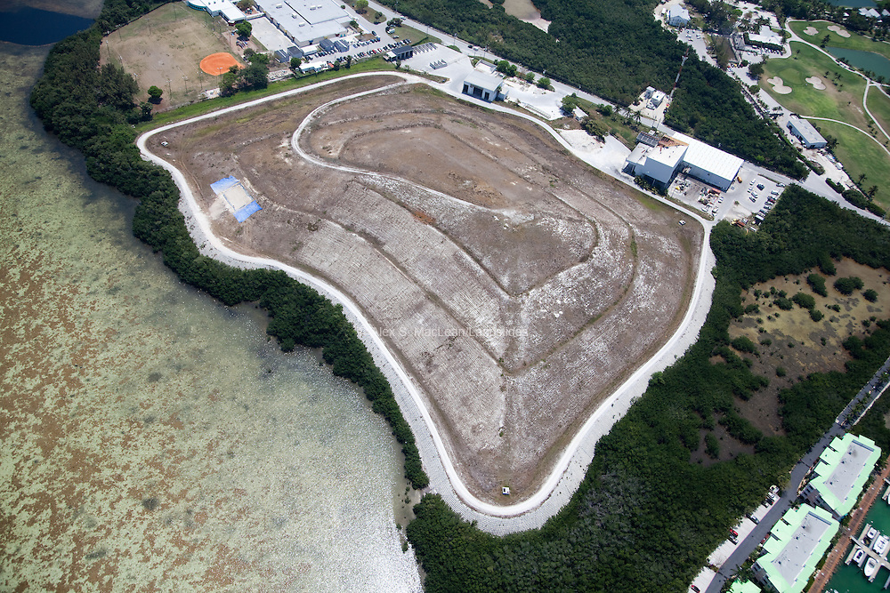 Marks of different layers on a landfill in Key West, Florida.