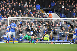 JONAS KNUDSEN IPSWICH TOWN, IPSWICH KEEPER BARTOSZ BIALKOWSKI MAKES A GREAT SAVE FROM FORESTS NELSON OLIVEIRA HEADER ON TARGET, Ipswich Town v Nottingham Forest, Sky Bet Championship, Portman Road Stadium, Saturday 5th March 2016.