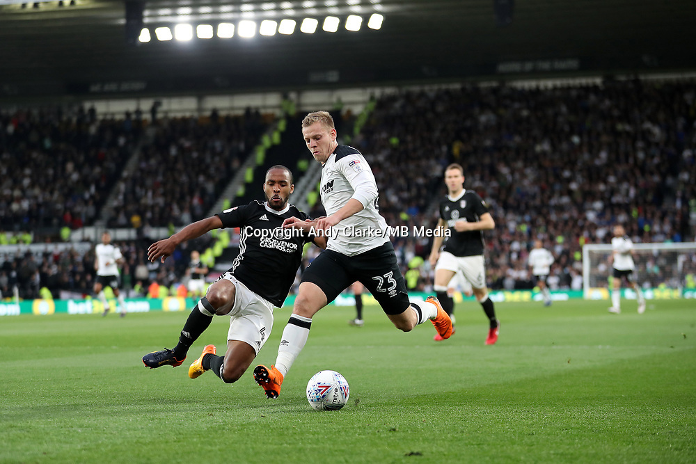 DERBY, ENGLAND - MAY 11: - DCFC vs Fulham. Matej Vydra, gets past a Fulham defender