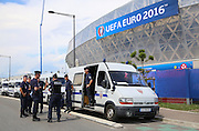 Police and security outside the Stade de Nice Stadium during the Euro 2016 match between Poland and Northern Ireland at the Stade de Nice, Nice, France on 12 June 2016. Photo by Phil Duncan.