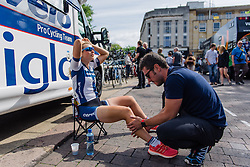 Lotta Lepistö gets her final massage of the week before the final stage start in Northampton at Aviva Women's Tour 2016 - Stage 5. A 113.2 km road race from Northampton to Kettering, UK on June 19th 2016.