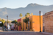 View of the colorful homes in the historic district in Oaxaca, Mexico.