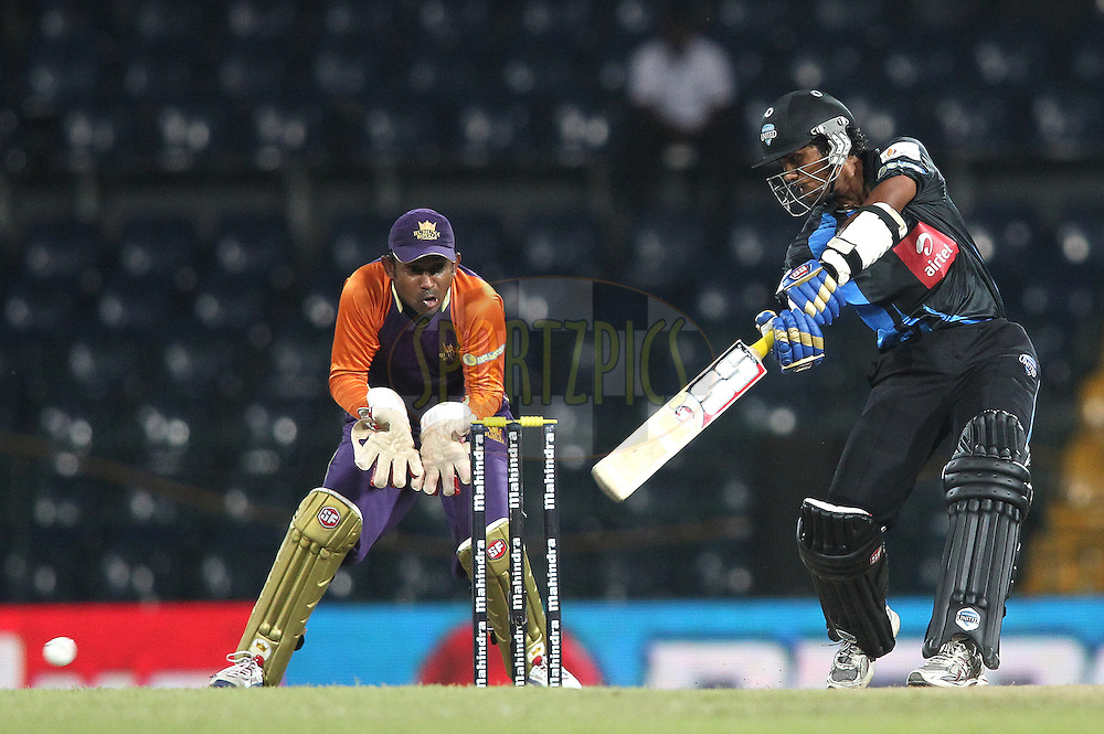 Dinesh Chandimal of Wayamba United cuts a delivery square during match 20 of the Sri Lankan Premier League between Ruhuna Royals and Wayamba United held at the Premadasa Stadium in Colombo, Sri Lanka on the 26th August 2012. .Photo by Shaun Roy/SPORTZPICS/SLPL