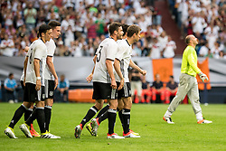 04.06.2016, Veltins Arena, Gesenkirchen, GER, Testspiel, Deutschland vs Ungarn, im Bild Mesut Oezil (GER #8), Julian Draxler (GER #11), Jonas Hector (GER #3) und Thomas Mueller (GER #13) beim Torjubel nach dem Treffer zum 1:0 durch Mario Goetze (GER #19 - verdeckt) mit Torwart Gabor Kiraly (HUN #1) // during the International Friendly Match between Germany and Hungary at the Veltins Arena in Gesenkirchen, Germany on 2016/06/04. EXPA Pictures © 2016, PhotoCredit: EXPA/ Eibner-Pressefoto/ Schueler<br /> <br /> *****ATTENTION - OUT of GER*****