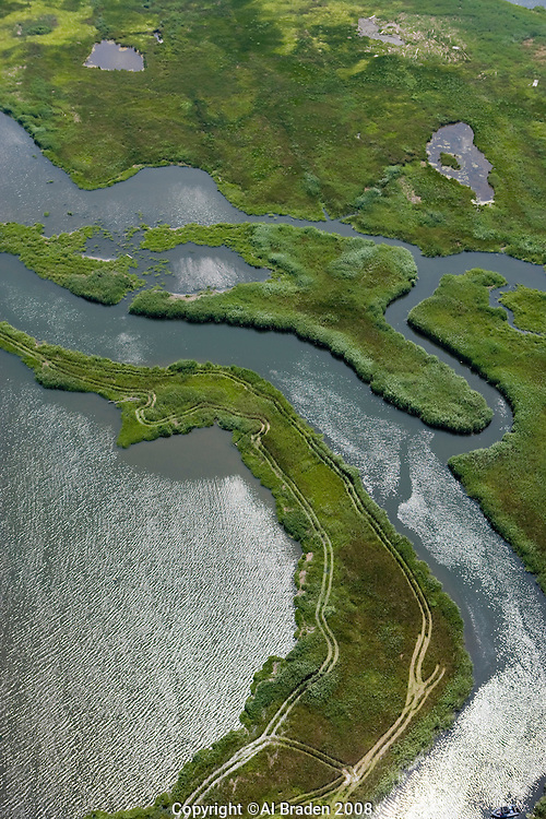 Aerial of athe Upper Island portion of Great Island, near the mouth of the Connecticut River, Old Lyme, CT.