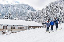 11.01.2019, Hahnenkamm, Kitzbühel, AUT, FIS Weltcup Ski Alpin, Schneekontrolle durch die FIS, im Bild v.l. Herbert Hauser (Pistenchef Streif), Hannes Trinkl (FIS Renndirektor), Jan Überall (KSC) // f.l. Herbert Hauser slope Manager Streif Hannes Trinkl FIS Racedirector and Jan Überall (KSC) during snow control by the FIS at the Hahnenkamm in Kitzbühel, Austria on 2019/01/11. EXPA Pictures © 2019, PhotoCredit: EXPA/ Stefan Adelsberger
