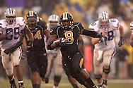 University of Missouri free safety David Overstreet (8) picks up a Kansas State fumble and take it back 41-yards for a third quarter touchdown at Faurot Field in Columbia, Missouri, October 21, 2006.  The Tigers beat the Wildcats 41-21.<br />