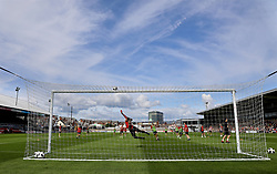 NEWPORT, WALES - Thursday, August 30, 2018: Wales goalkeeper Claire Skinner makes a save during a training session at Rodney Parade ahead of the final FIFA Women's World Cup 2019 Qualifying Round Group 1 match against England. (Pic by David Rawcliffe/Propaganda)
