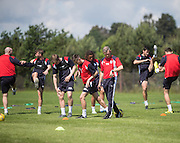 Dundee head fitness coach Tam Richie checks progress  -  Dundee FC pre-season training at Dundee University Grounds, Riverside<br /> <br />  - &copy; David Young - www.davidyoungphoto.co.uk - email: davidyoungphoto@gmail.com