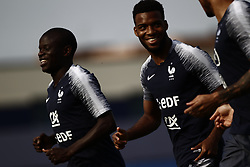 June 23, 2018 - Moscow, Russia - Ngolo Kante, Thomas Lemar, Corentin Tolisso of France take part in a training session at the Glebovets stadium in Istra, on June 23, 2018, during the Russia 2018 World Cup football tournament. (Credit Image: © Mehdi Taamallah/NurPhoto via ZUMA Press)