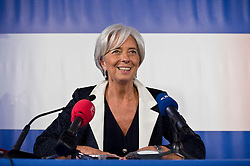 Christine Lagarde, France's finance minister, speaks during a press briefing following the first meeting of the Van Rompuy task force on economic governance, in Brussels, Belgium, on Friday, May 21, 2010. (Photo © Jock Fistick)
