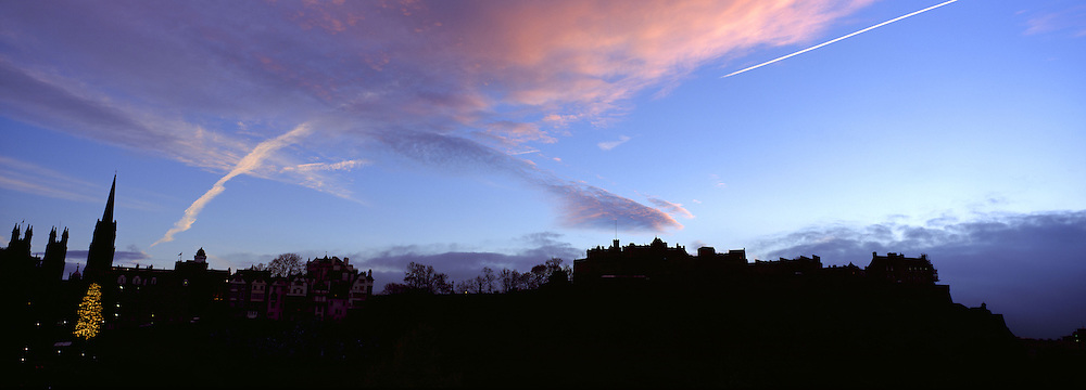 Edinburgh winter skyline from Princes street, Scotland