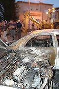 Israel, Haifa, Cars hit by a missile Katyusha rocket during the Second Lebanon war. August 13 2006